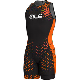 Alé Cycling Rush Olympic Tri Traje Triatlón Corto sin mangas Hombre, black-flou orange